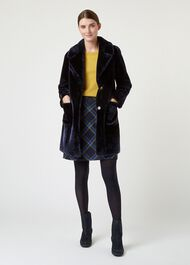 Ioanna Fur Coat, Navy, hi-res