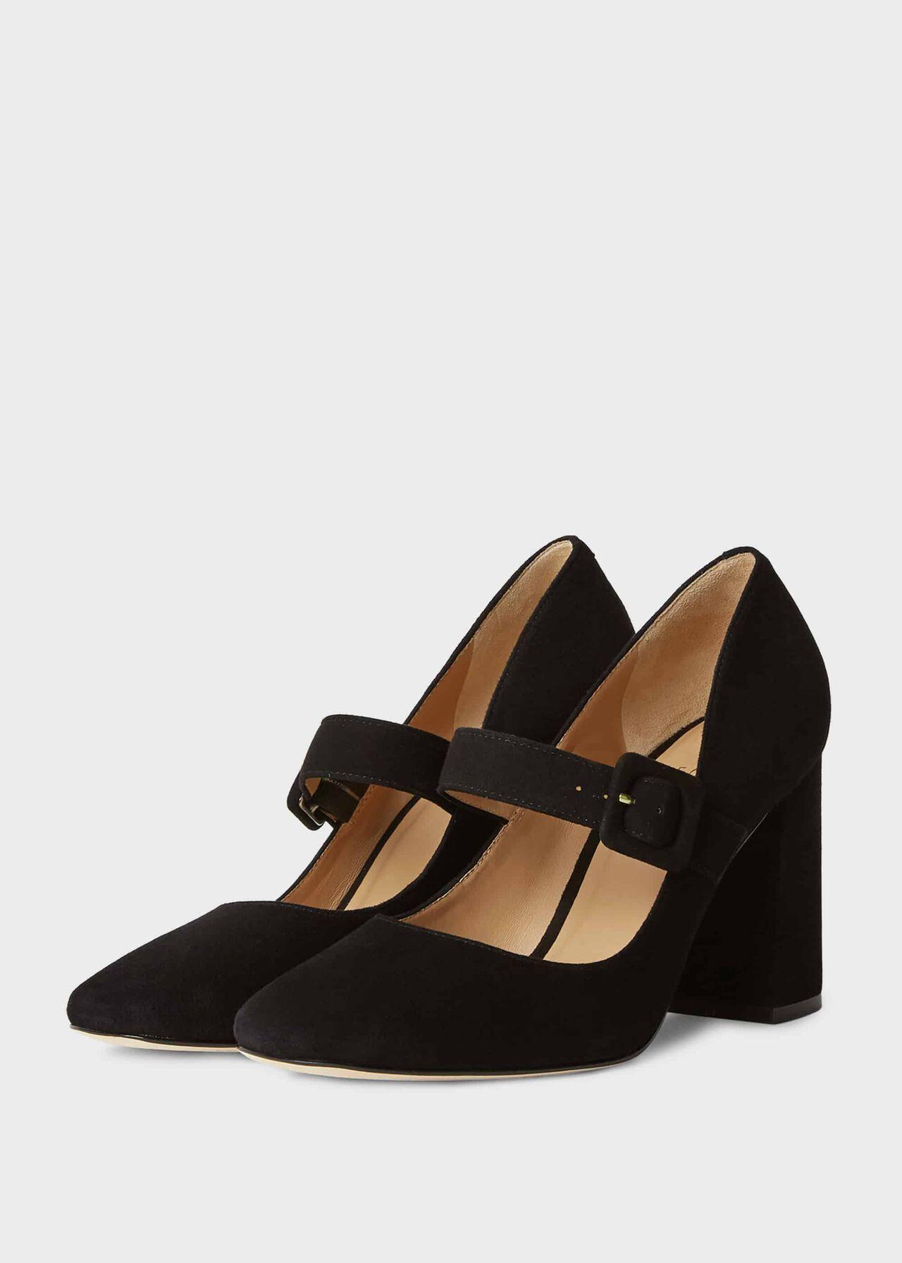 Darcie Suede Block Heel Court Shoes Black