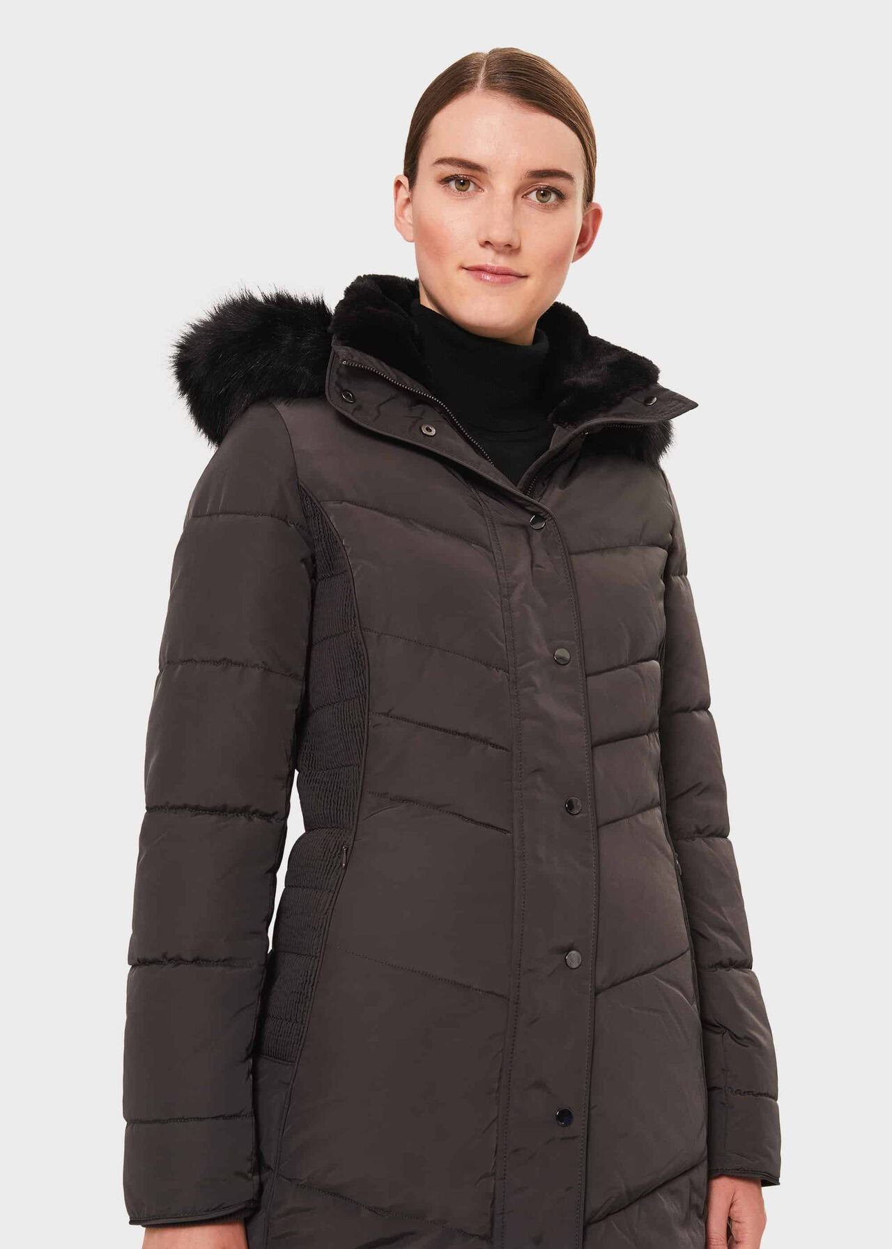 Petite Lettie Puffer Jacket With Hood, Dark Charcoal, hi-res