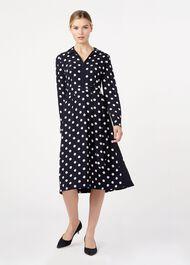 Georgiana Spot Dress, Navy Ivory, hi-res