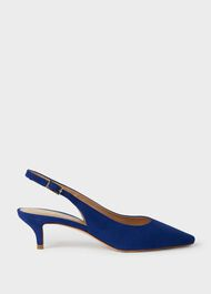 Annie Suede Kitten Heel Slingback Court Shoes, Cobalt, hi-res