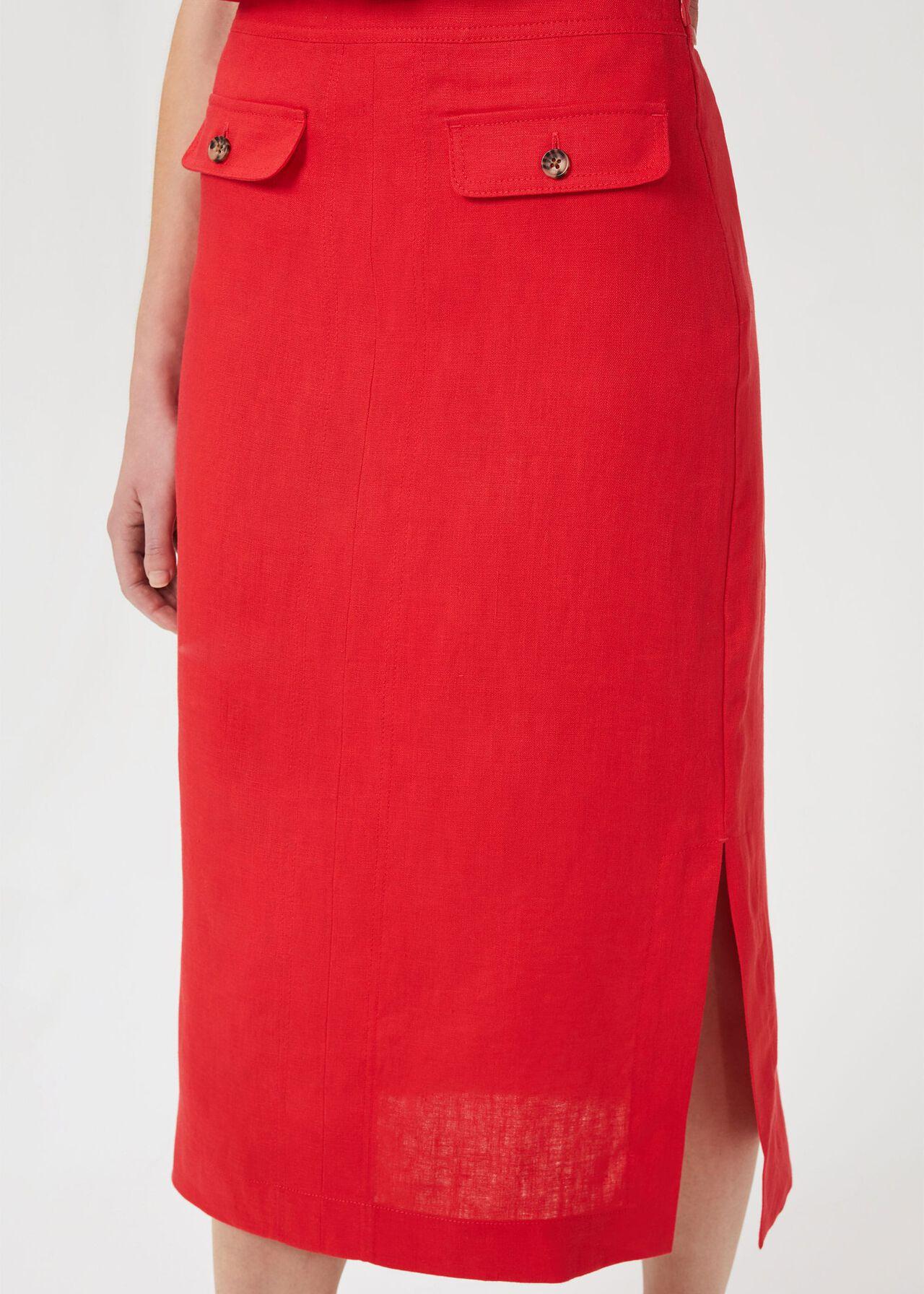 Georgiana Linen Skirt, Coral Red, hi-res