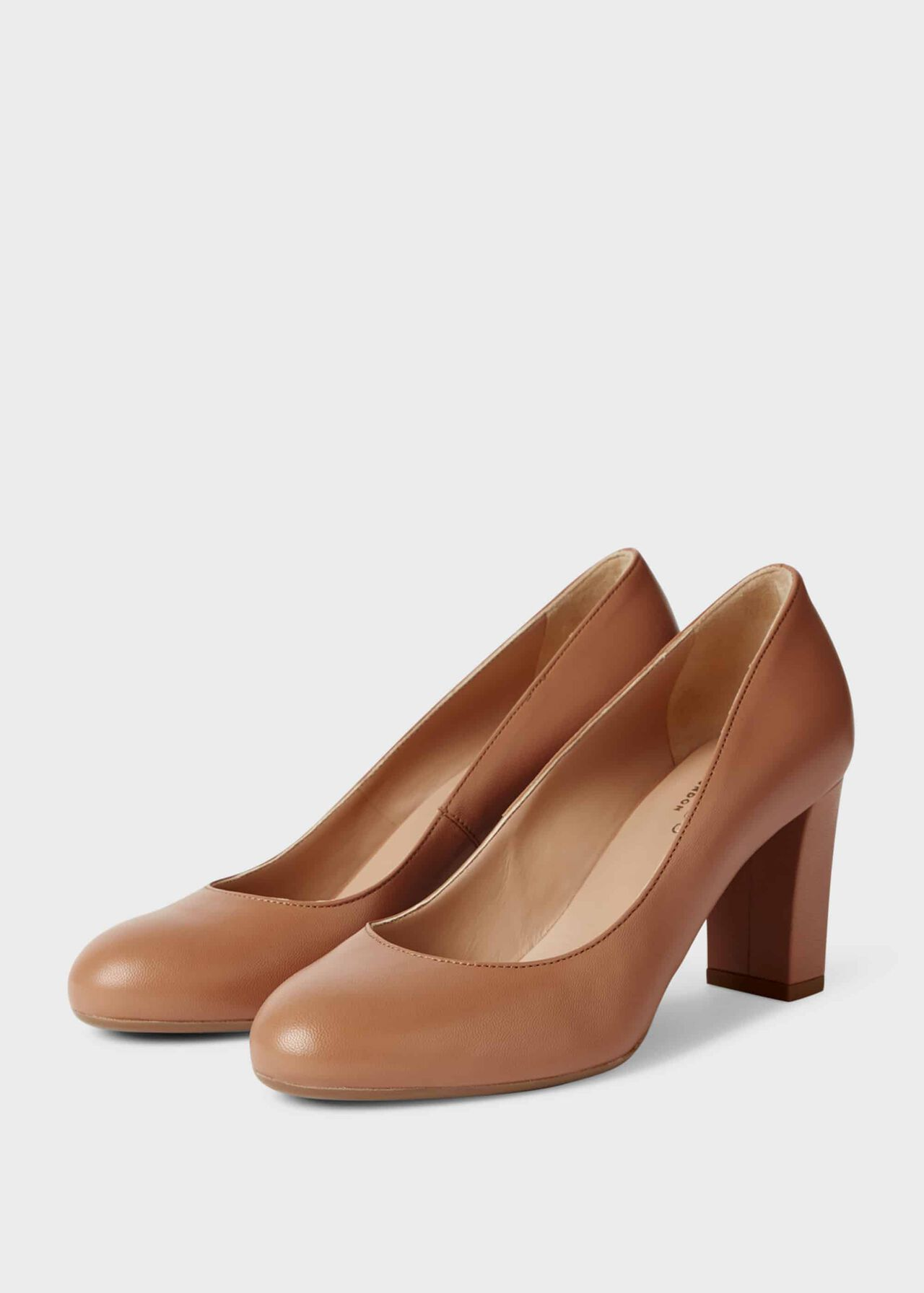 Sonia Leather Block Heel Court Shoes Toasted Almond