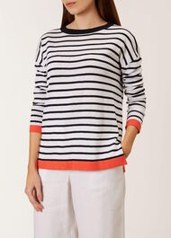 Amelia Linen Blend Sweater, Ivory Navy, hi-res