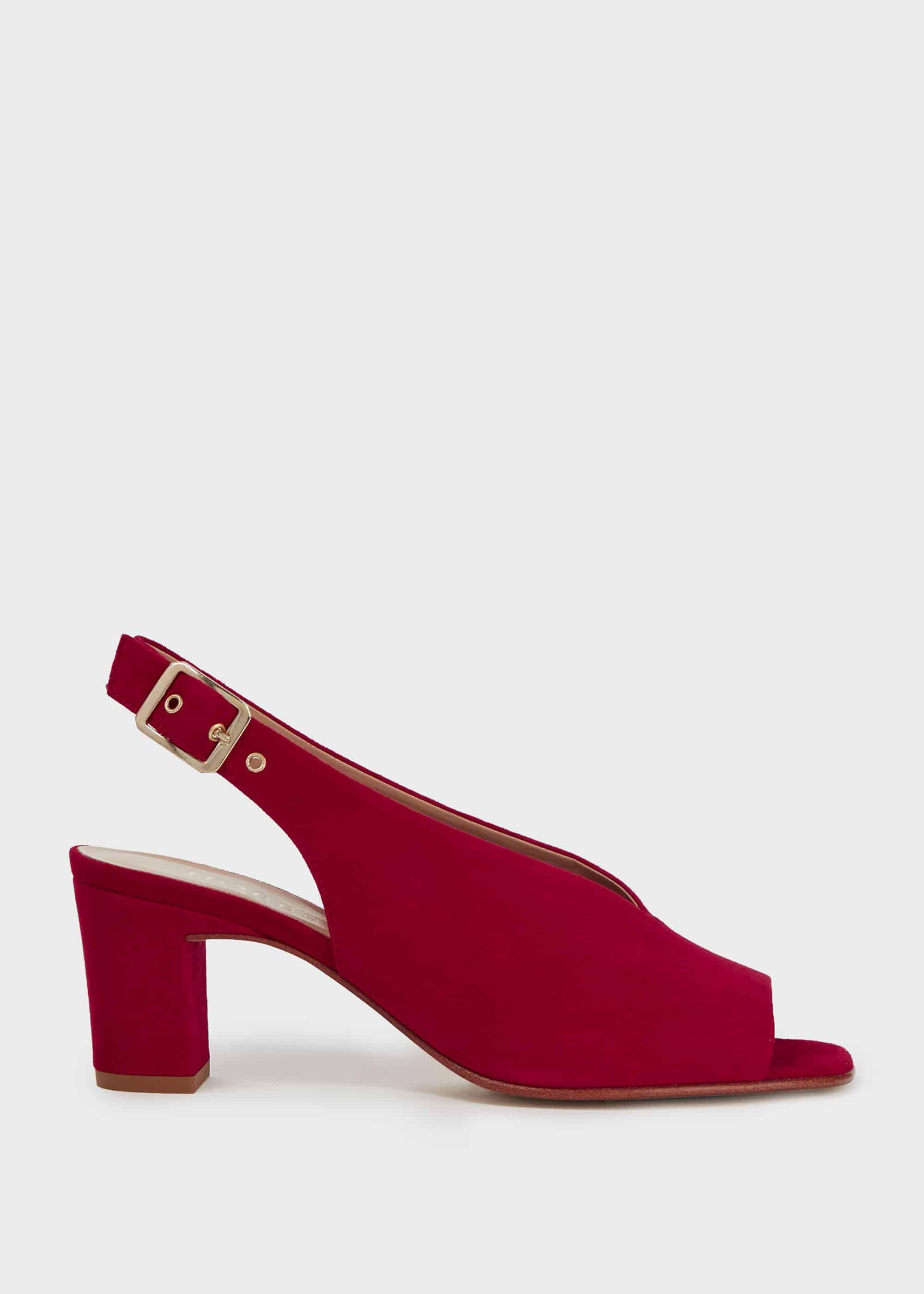 red leather block heel sandals