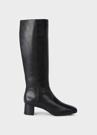 Hailey Leather Block Heel Flexi Knee Boots, Black, hi-res