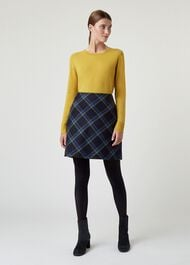Elea Wool Skirt, Navy Green, hi-res