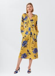 Rosalind Floral Midi Dress, Yellow Blue, hi-res