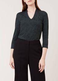 Aimee Printed Top, Khaki Black, hi-res