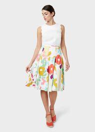 Melina Cotton Floral Full Skirt, White Multi, hi-res