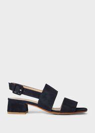 Claudia Suede Block Heel Sandals, Navy, hi-res