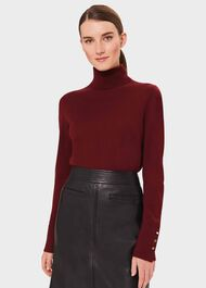 Lara Merino Wool Roll Neck Jumper, Burgundy, hi-res