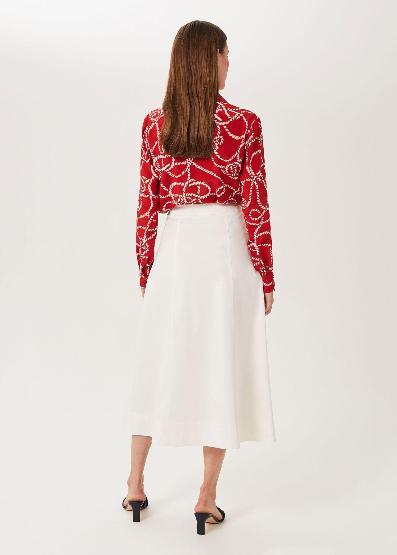 Venetia Cotton Midi Skirt, Natural, hi-res