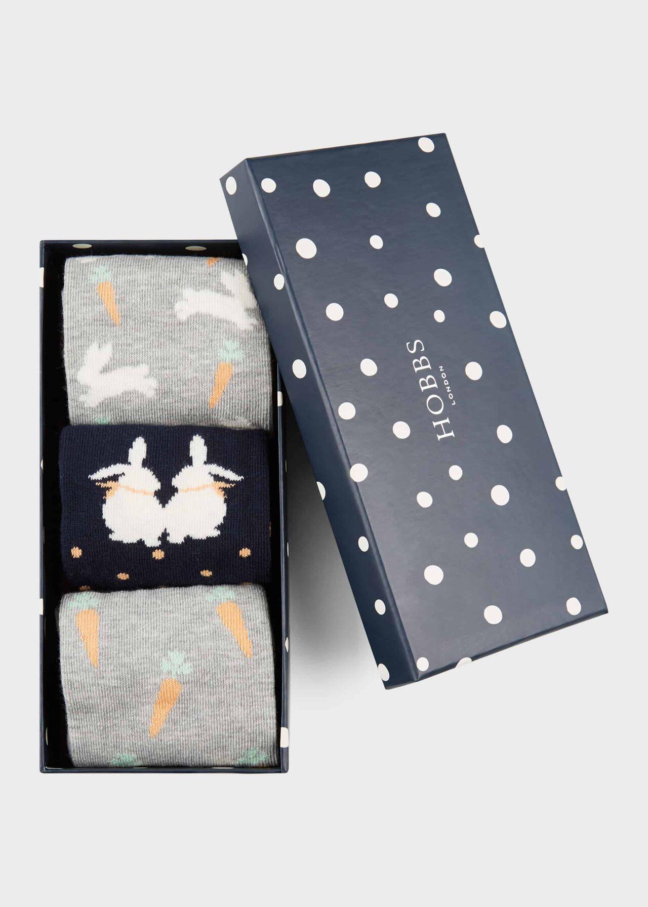 Bunny Sock Set, Navy, hi-res