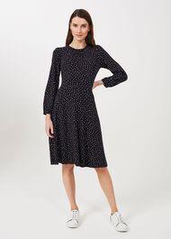 Portia Jersey Dress, Navy Multi, hi-res