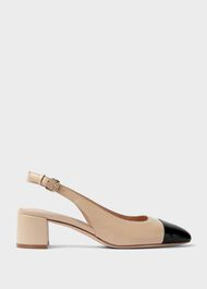 Emily Leather Block Heel Slingback Court Shoes, Birch, hi-res