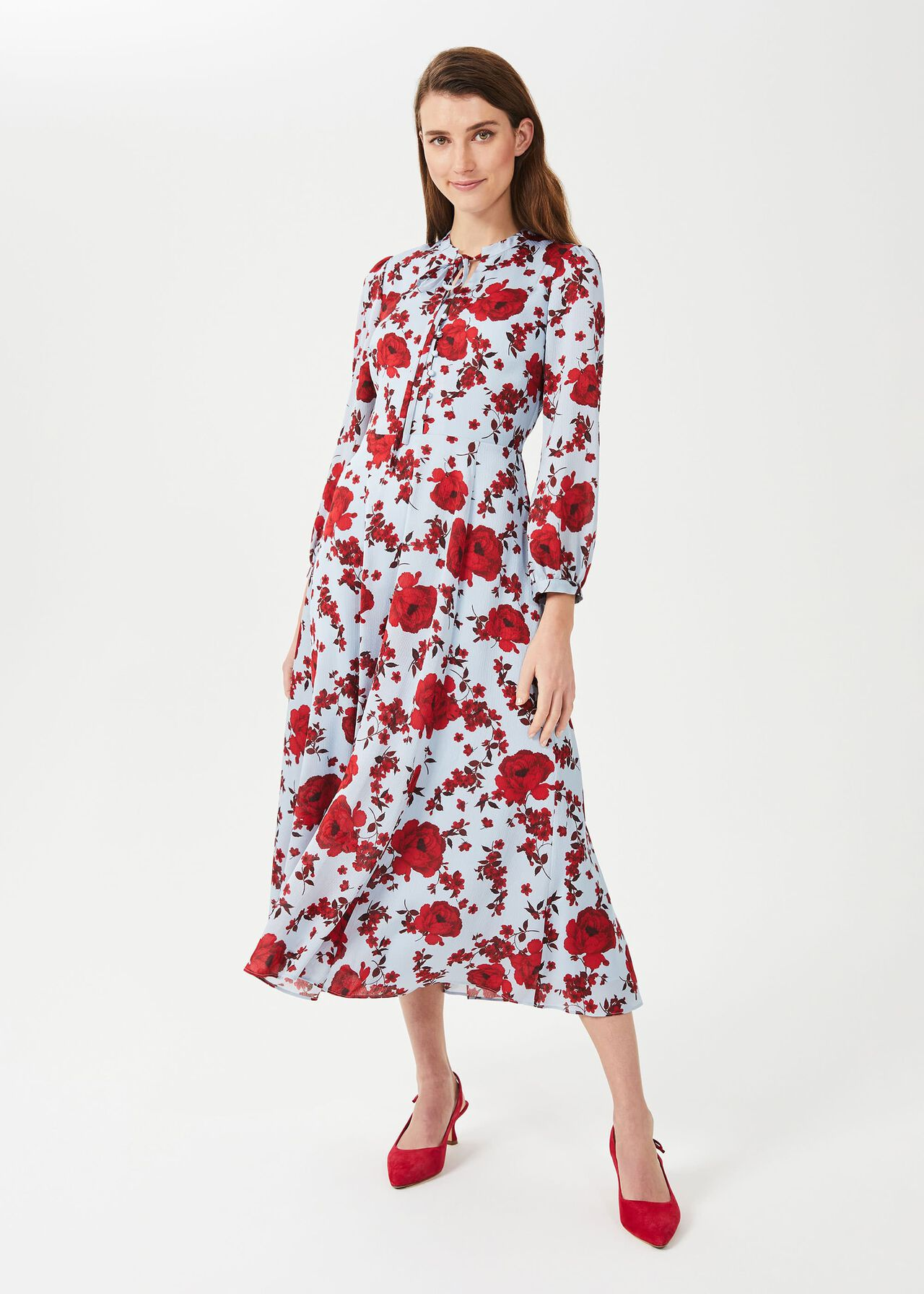 Polly Floral Midi Dress, Blue Red, hi-res