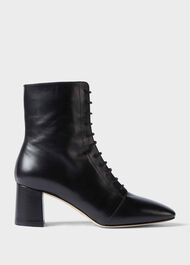 Imogen Leather Lace Up Ankle Boots, Black, hi-res