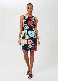 Allison Cotton Blend Floral Shift Dress, Navy Multi, hi-res