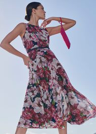 Carly Floral Midi Dress, Peony Pink, hi-res