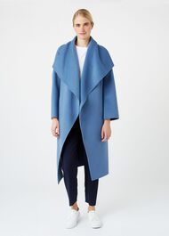 Odelia Double Face Wool Blend Coat, Chambray, hi-res