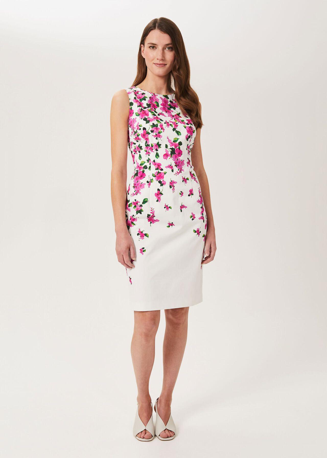 Fiona Cotton Blend Shift Dress, Ivory Fuchsia, hi-res