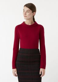 Audrey Wool Cashmere Sweater, Raspberry, hi-res