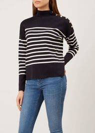 Marina Button Detail Sweater, Navy Ivory, hi-res