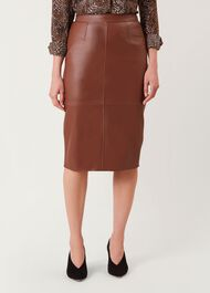 Thea Leather Skirt, Tan, hi-res
