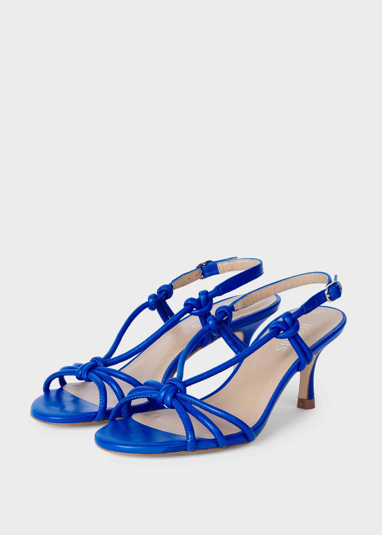 Billie Leather Kitten Heel Sandals Cobalt