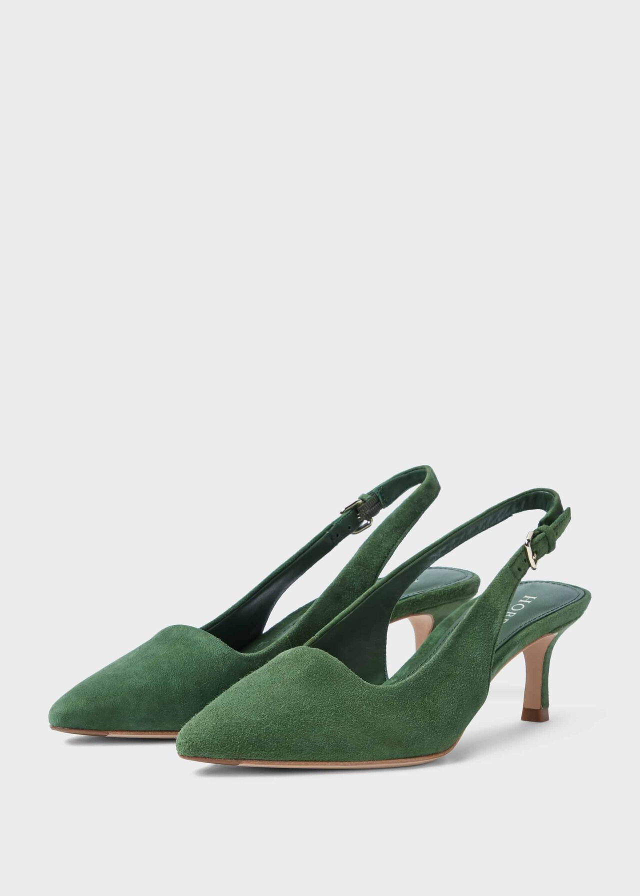 Kiera Suede Kitten Heel Slingbacks Court Shoes Fern Green