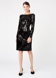 Sawyer Sequin Dress, Black, hi-res