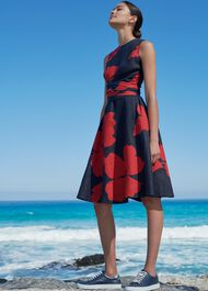 Linen Twitchill Dress, Navy Red, hi-res