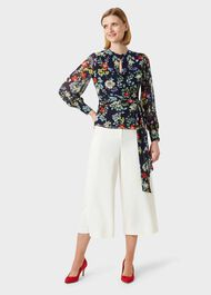 Meadow Floral Wrap Blouse, Navy Multi, hi-res