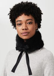 Wren Faux Fur Collar, Black, hi-res