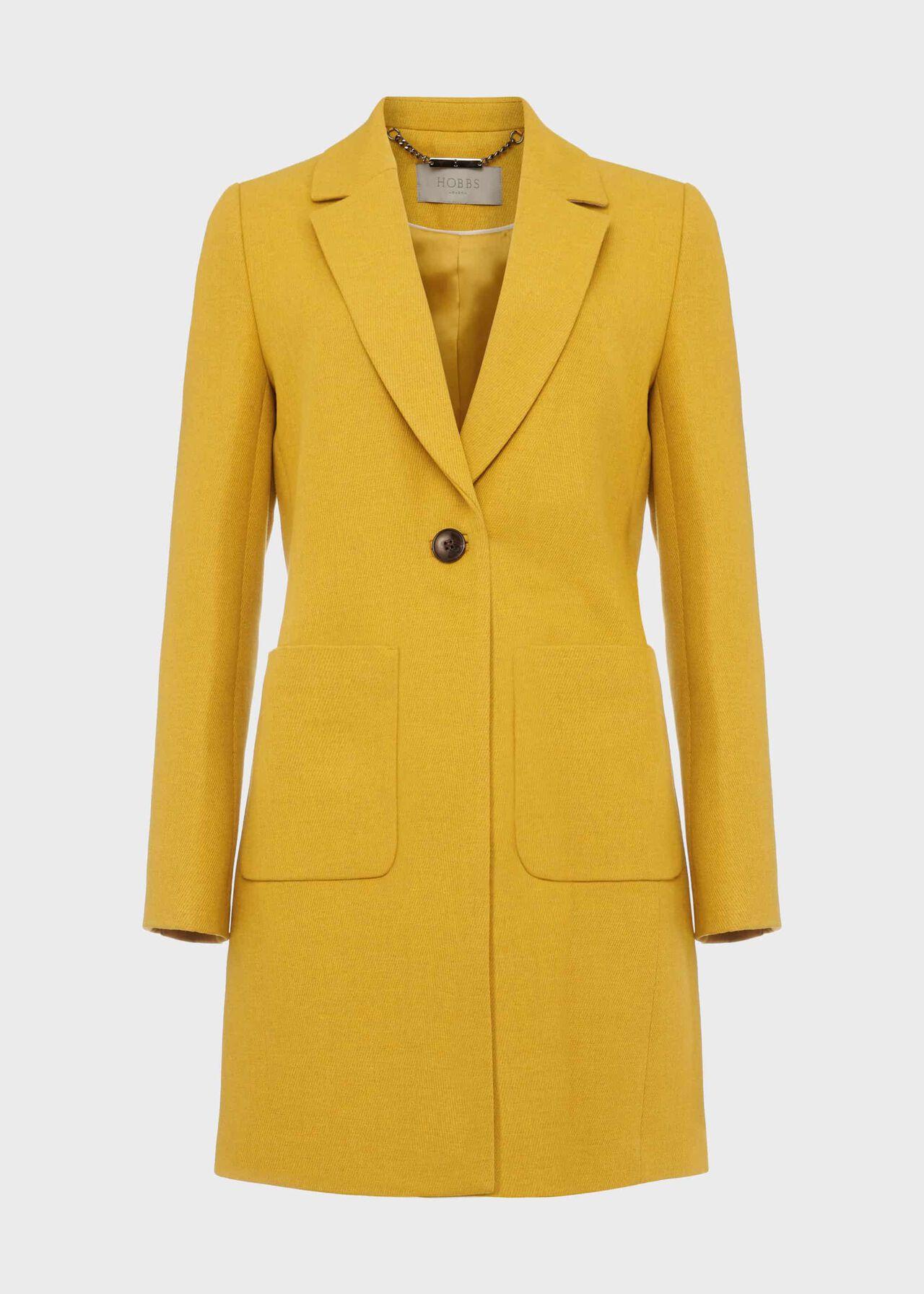 Petite Corina Coat With Wool Oil Yellow