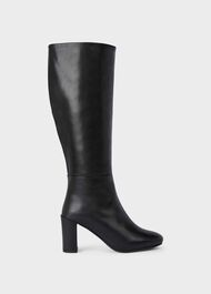 Anastasia Leather Block Heel Knee Boots, Black, hi-res