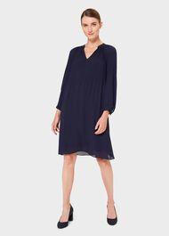 Emilia Pleated Dress, French Blue, hi-res