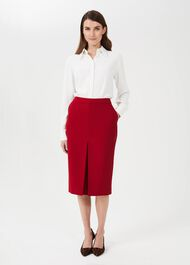Lucille Pencil Skirt With Stretch, Red, hi-res