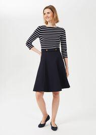 Caris Stripe Jersey Dress, Navy Ivory, hi-res