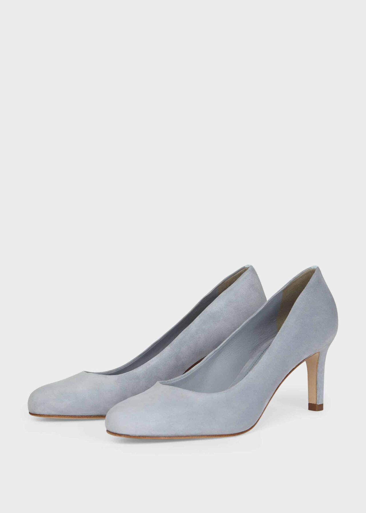 Lizzie Suede Stiletto Court Shoes Celeste Blue