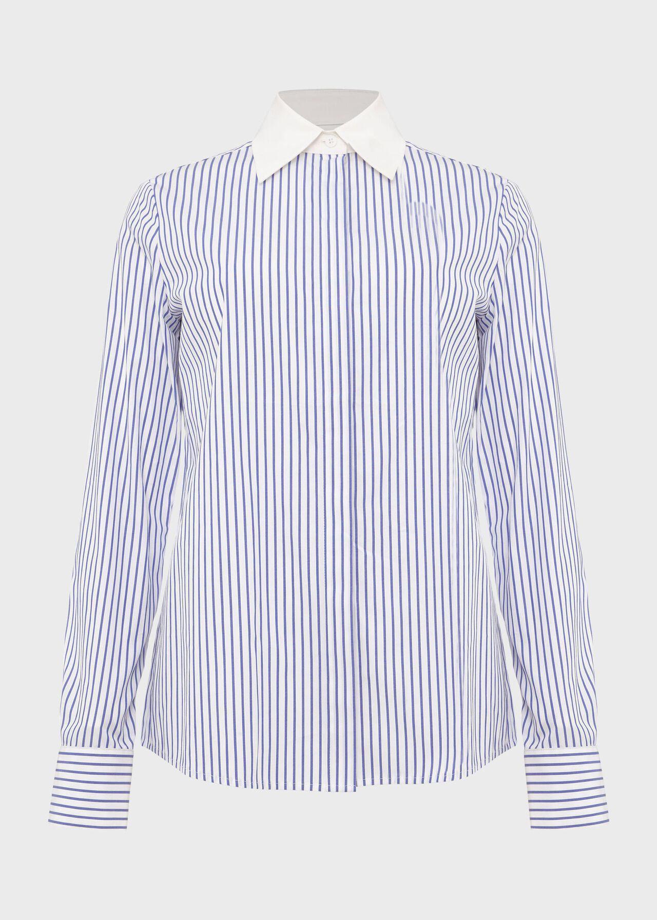 Talia Cotton Blend Stripe Shirt, Blue Ivory, hi-res