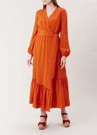 Valencia Silk Dress, Orange, hi-res