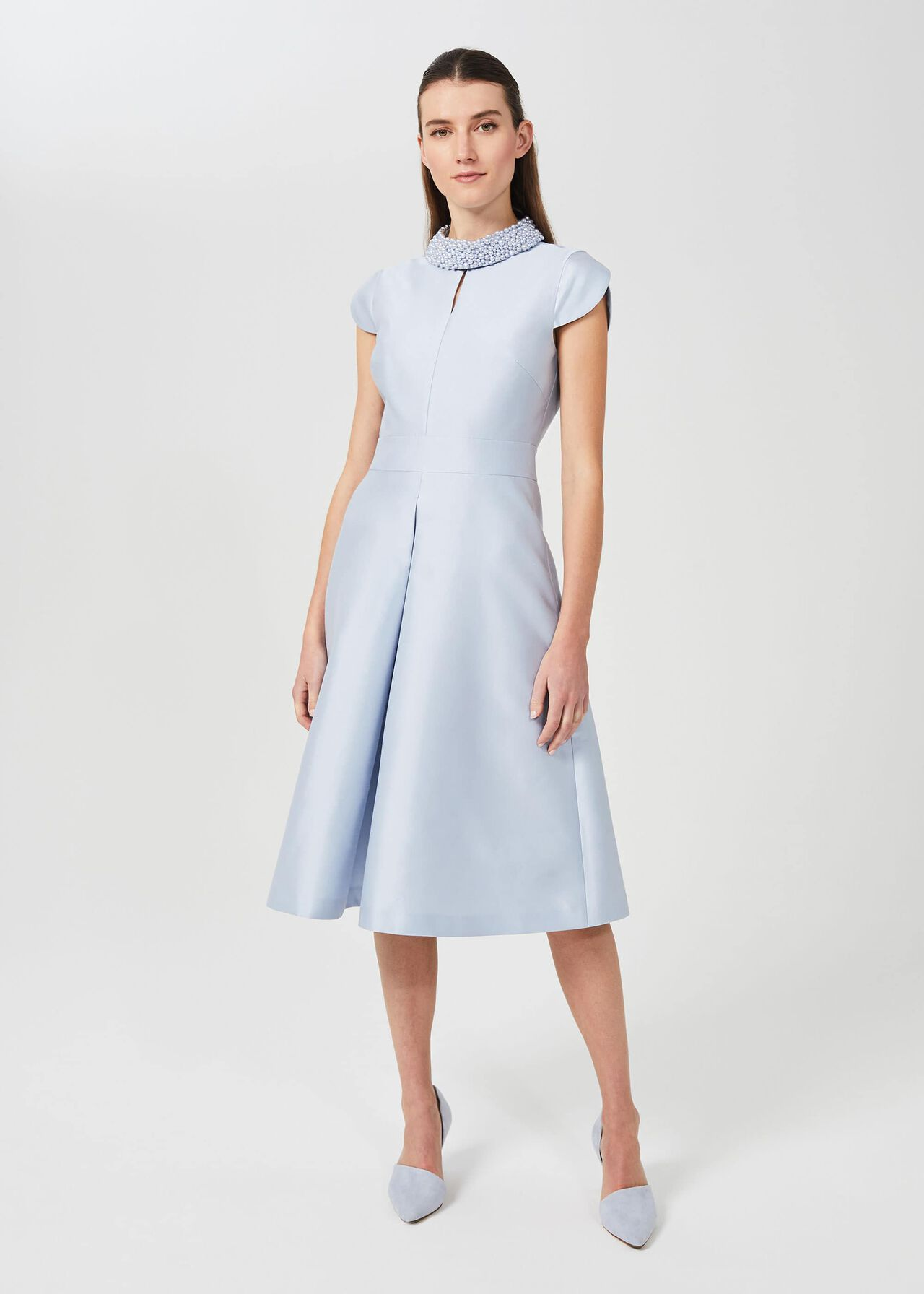 Marcella Silk Wool Beaded Dress, Celeste Blue, hi-res