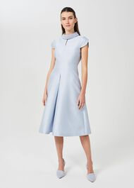 Marcella Silk Wool Beaded Dress, Celeste Blue, hi-res