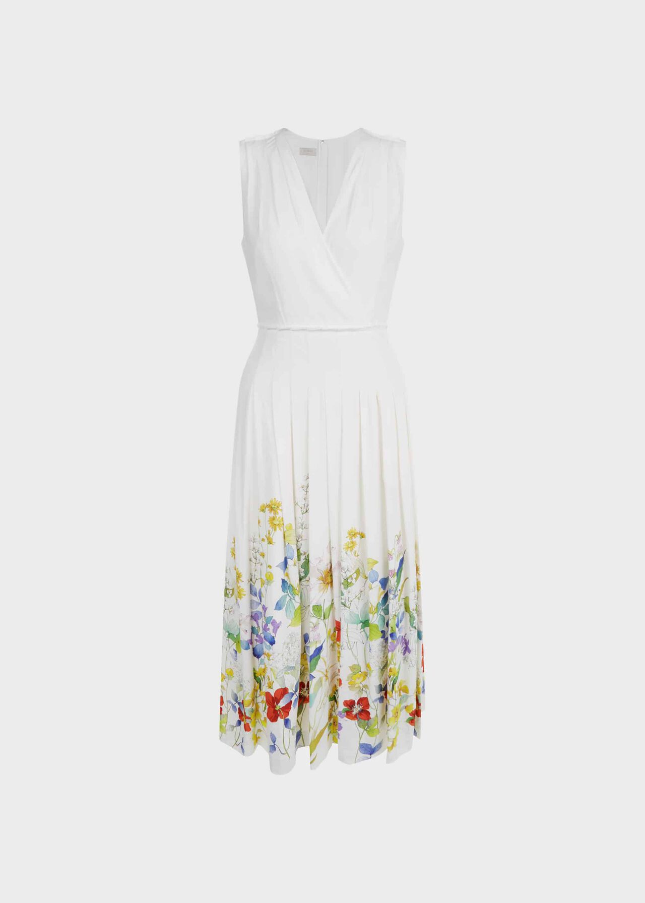 Summer Floral V Neck Midi Dress Ivory Multi