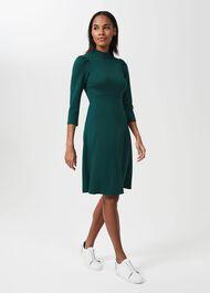 Flo Turtle Neck Ponte Dress, Green, hi-res