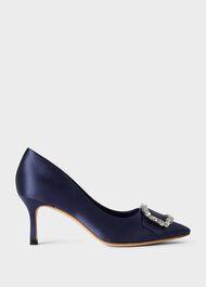 Lucinda Satin Jewel Court Shoes , Jewel Blue, hi-res