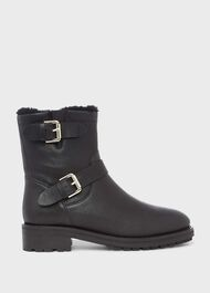 Philippa Leather Ankle Boots, Black, hi-res