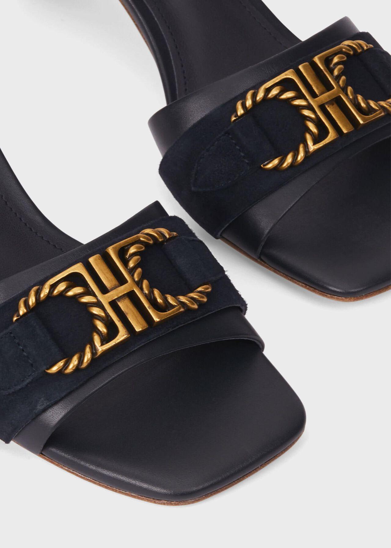 Alva Leather Mules , Navy, hi-res